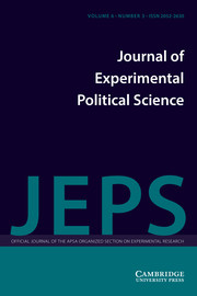 Journal of Experimental Political Science Volume 6 - Issue 3 -